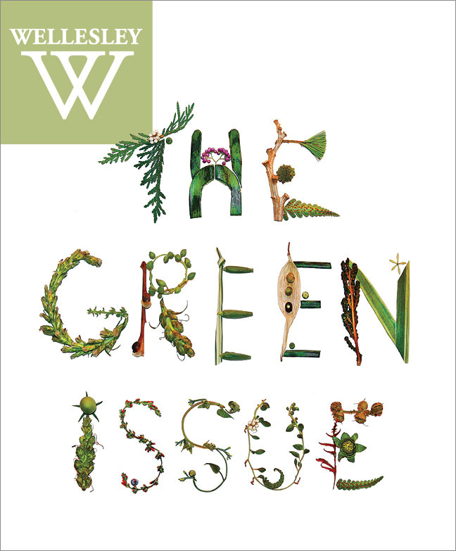 "Cover of fall 2017 issue, ""The Green Issue"" written in twigs and leaves"