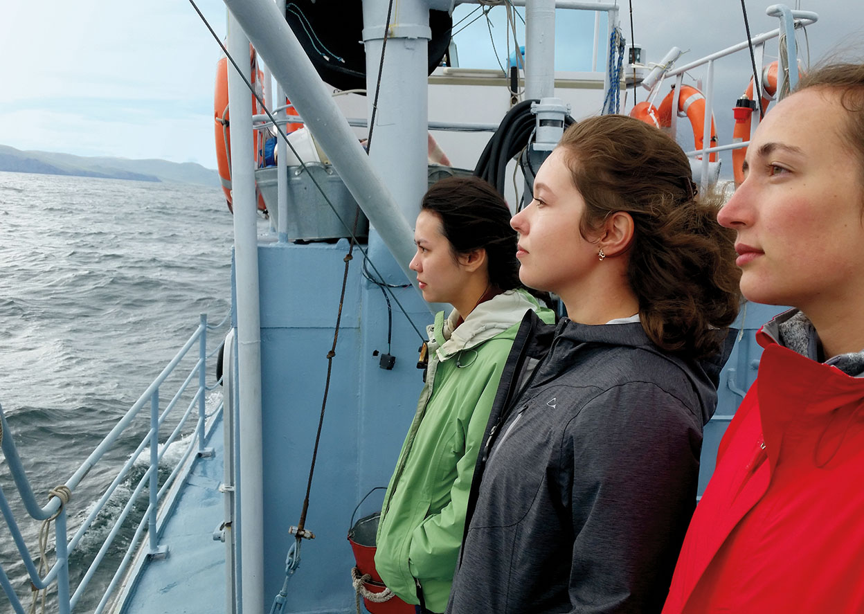 Wellesley students stand on the deck of a ship in Baikal.