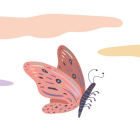 An illustration of a pink butterly