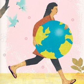 Illustration of woman holding planet Earth