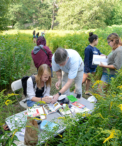 A photo shows Prof. Nick Rodenhouse assisting students with plant identification in a field.