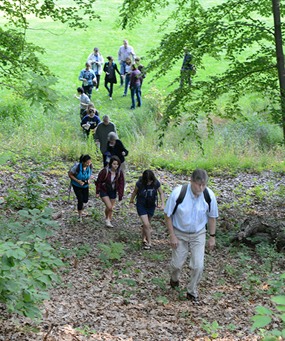 A photo showing a group of bird watchers climbing a hill on the Wellesley campus.