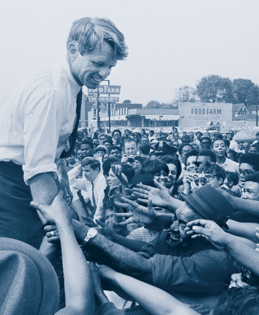 A photo of Robert F. Kennedy campaigning in Detroit in mid-May 1968.