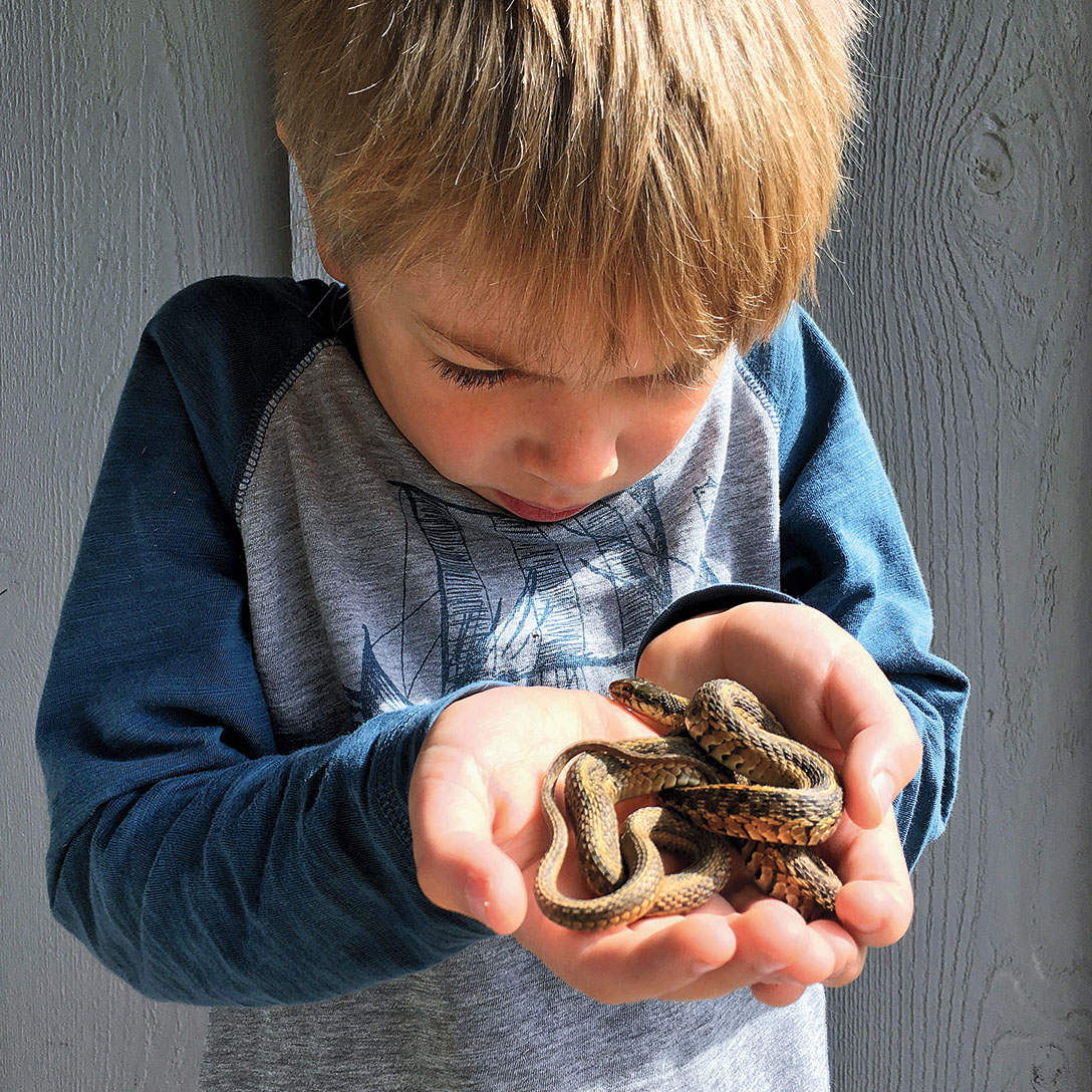 One of the author's children holds a snake -- very carefully!