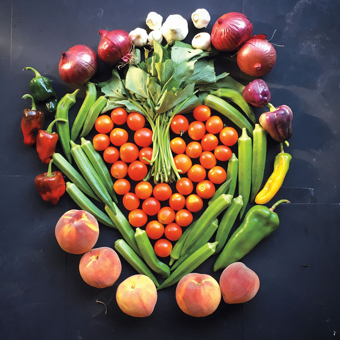 A collage the author's children made with fruit and vegetables
