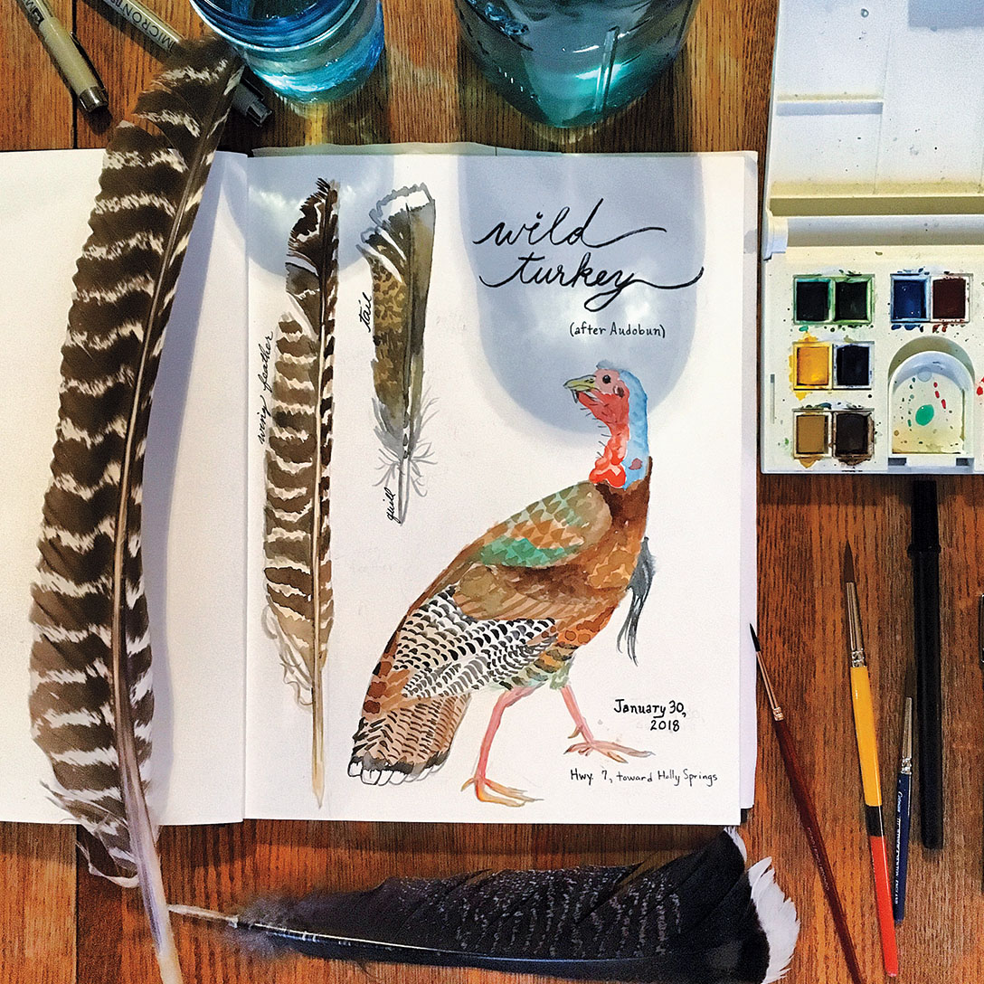 A photo of a child's artwork of a wild turkey beside two wild turkey feathers and an open box of watervolors paints