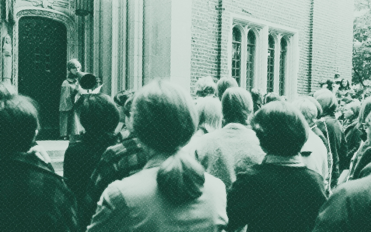 A photo of Wellesley students rallying outside Green Hall in the fall of 1968, calling for increased admissions of African-American students.