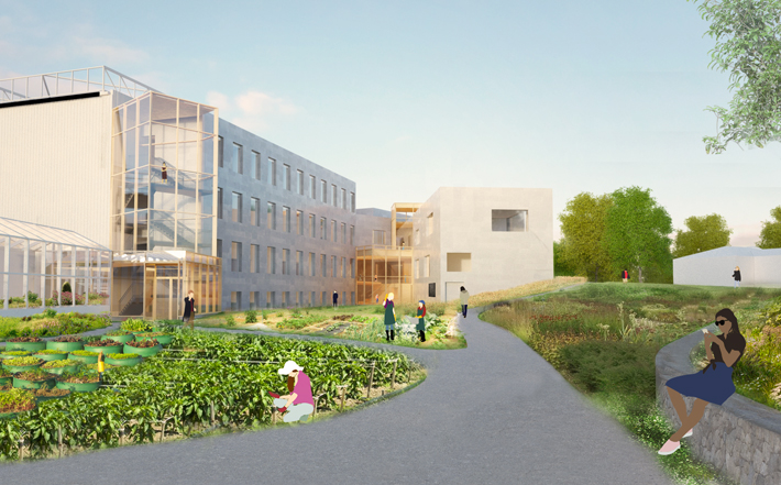 The new view from behind the Science Center includes the Camilla Chandler Frost '47 Center for the Environment, the Chao Innovation Hub, and new greenhouses.