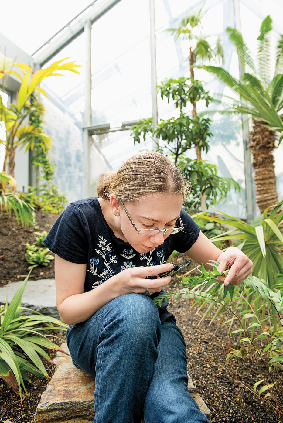 A photo shows Abigail Conte ' 20 studying a plant.