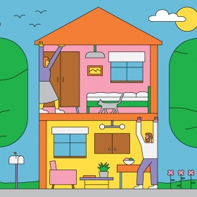 An illustration shows a couple in cutaway of a two-story house, the man holding up the first floor from below, the woman holding up the roof.