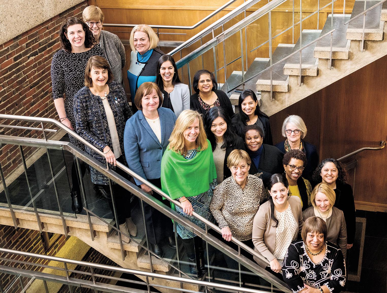 THE 2017–18 ALUMNAE ASSOCIATION BOARD OF DIRECTORS Front row (top to bottom), Sarah Jean Kelly '05, Martha Goldberg Aronson '89 (president-elect), Karen McSweeney Whitley '90, Missy Siner Shea '89 (WCAA executive director), Linda DuPlan Rieke '59, Maya Melczer Greenfield '04 (chair of Alumnae Admissions Representatives), Desiree Urquhart CE/DS '99; middle row, Helen Hsu '93, Charlayne Murrell-Smith '73, Pier Rogers '75, Martha McGowan Marlowe '68; back row, Alice Hummer (editor, Wellesley magazine), Eileen