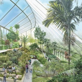 Architectural rendering of the inside of the Global Flora greenhouse.