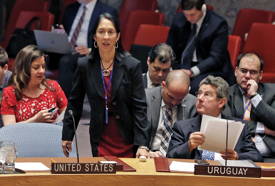 Ambassador Michel Sison '81, then U.S. Deputy Representative to the United Nations, at the Security Council meeting of the U.N. on Feb. 2, 2017.