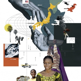 Collage of images related to Haiti and Japan, with maps and people