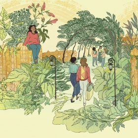 An illustration depicts Wellesley College buildings enclosing a flourishing garden in which several students are sitting, walking, and speaking in a group.
