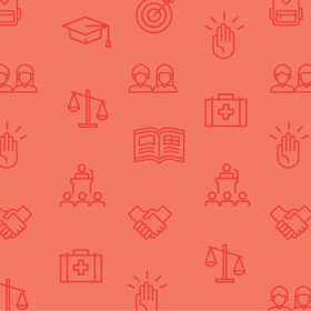 An illustration depicts education symbols including scales, a mortar board, and a handshake.
