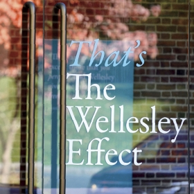 "Photo of window with ""That's The Wellesley Effect"" sign posted in it"
