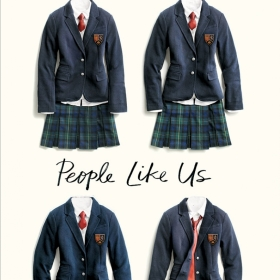 The cover of Dana Mele's novel, People Like Us, shows four girls' school uniforms, with navy blazers, plaid skirts, and red ties. The tie on one of the uniforms is askew.