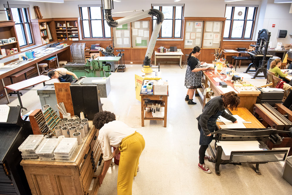 Overview shot of the Book Arts Lab