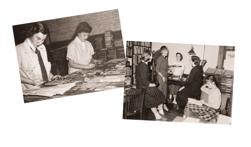Left: Students set type in the Book Arts Lab, year unknown. Right: Hannah French (second from left) speaks with students in the Book Arts Lab in 1955.