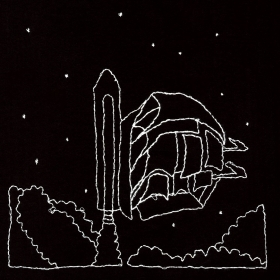 White embroidery on black cloth of a two-masted ship attached to an external tank and solid rocket boosters