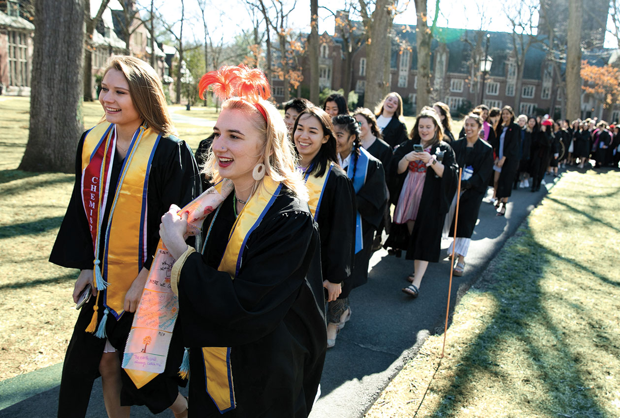 "The class of 2020 marched through the Academic Quad on the way to the ""faux-mencement"" ceremony they organized."