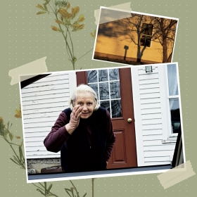 The author's grandmother stands outside her house in Vermont.