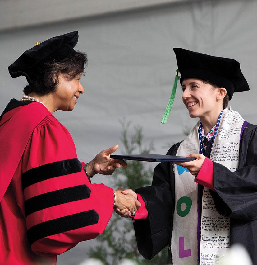 President Paula Johnson offers congratulations.