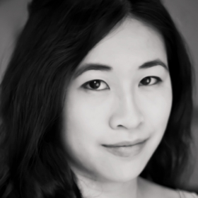 A black-and-white photo portrait shows Wendy Chen '14 in a tight close-up.