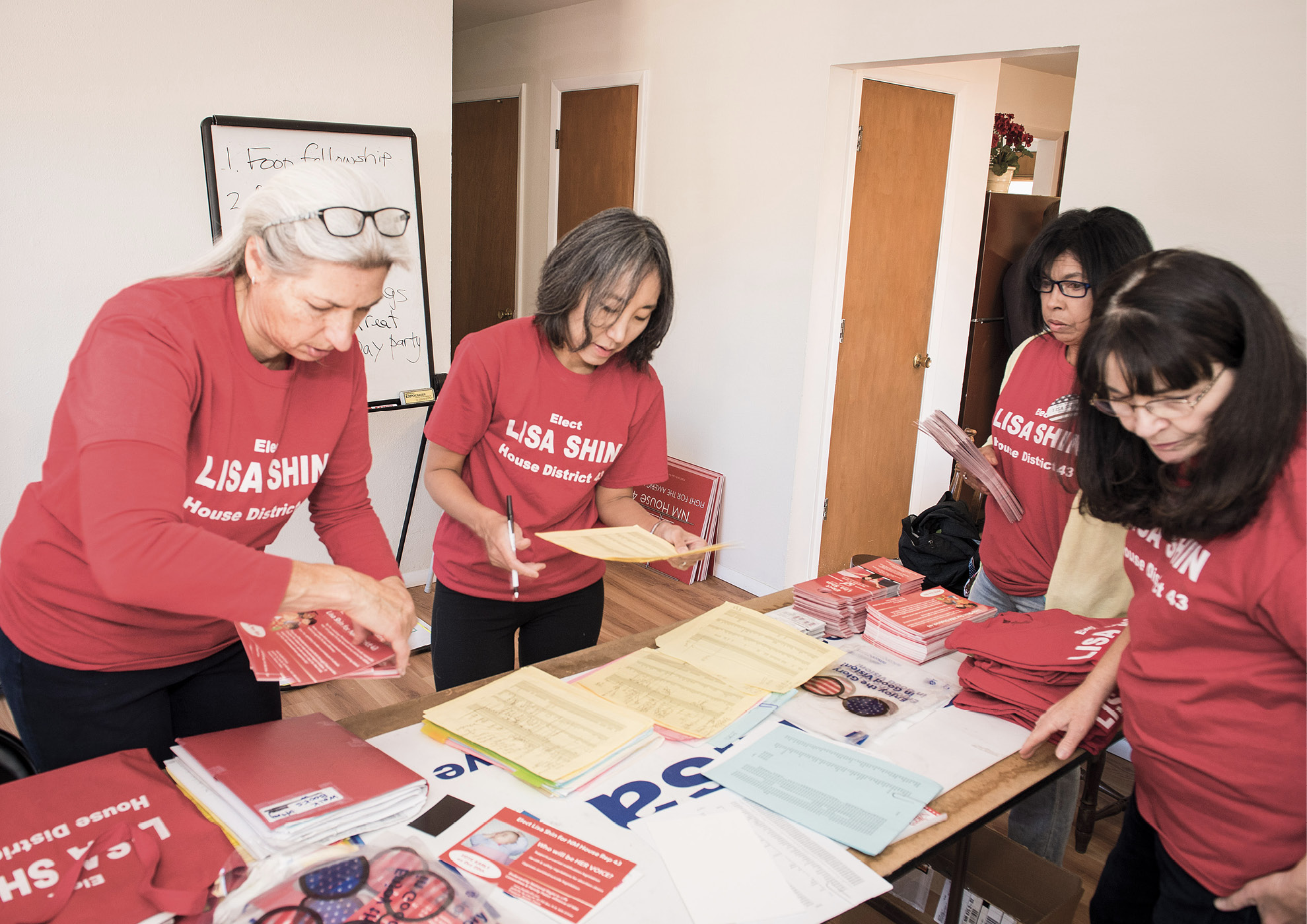 Lisa Shin '91 works in her campaign headquarters