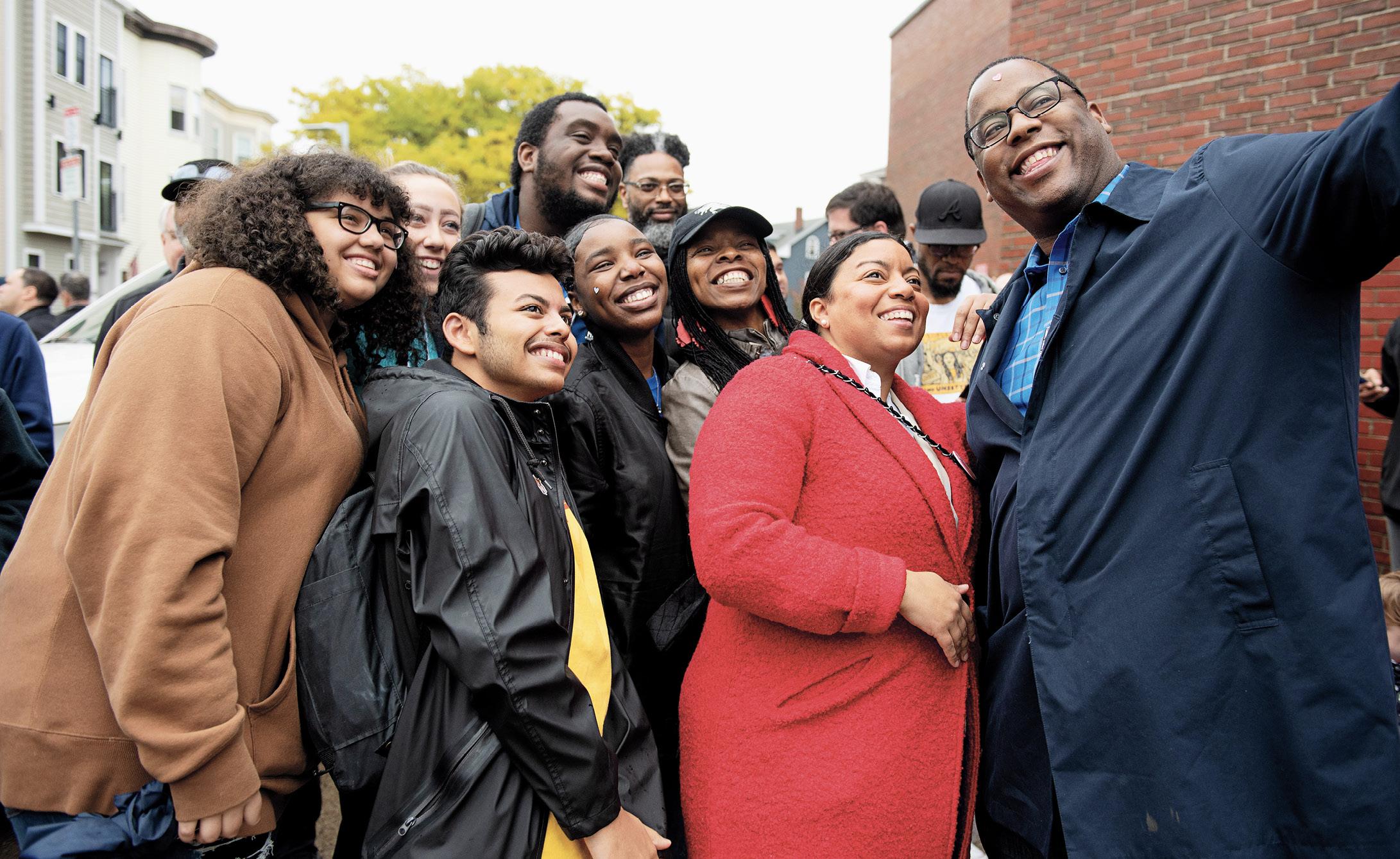 Liz Miranda '02 poses with constituents