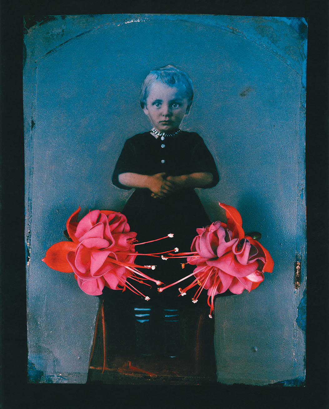 Two lush tropical flowers sit on an old fashioned portrait of a preschool-aged child