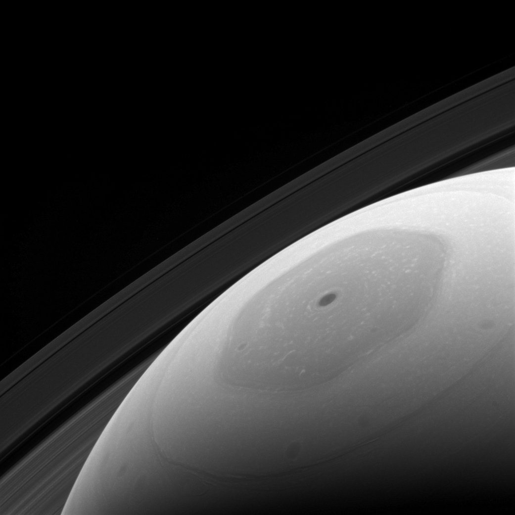 Saturn's hexagonal polar jet stream is the shining feature of almost every view of the north polar region of Saturn.