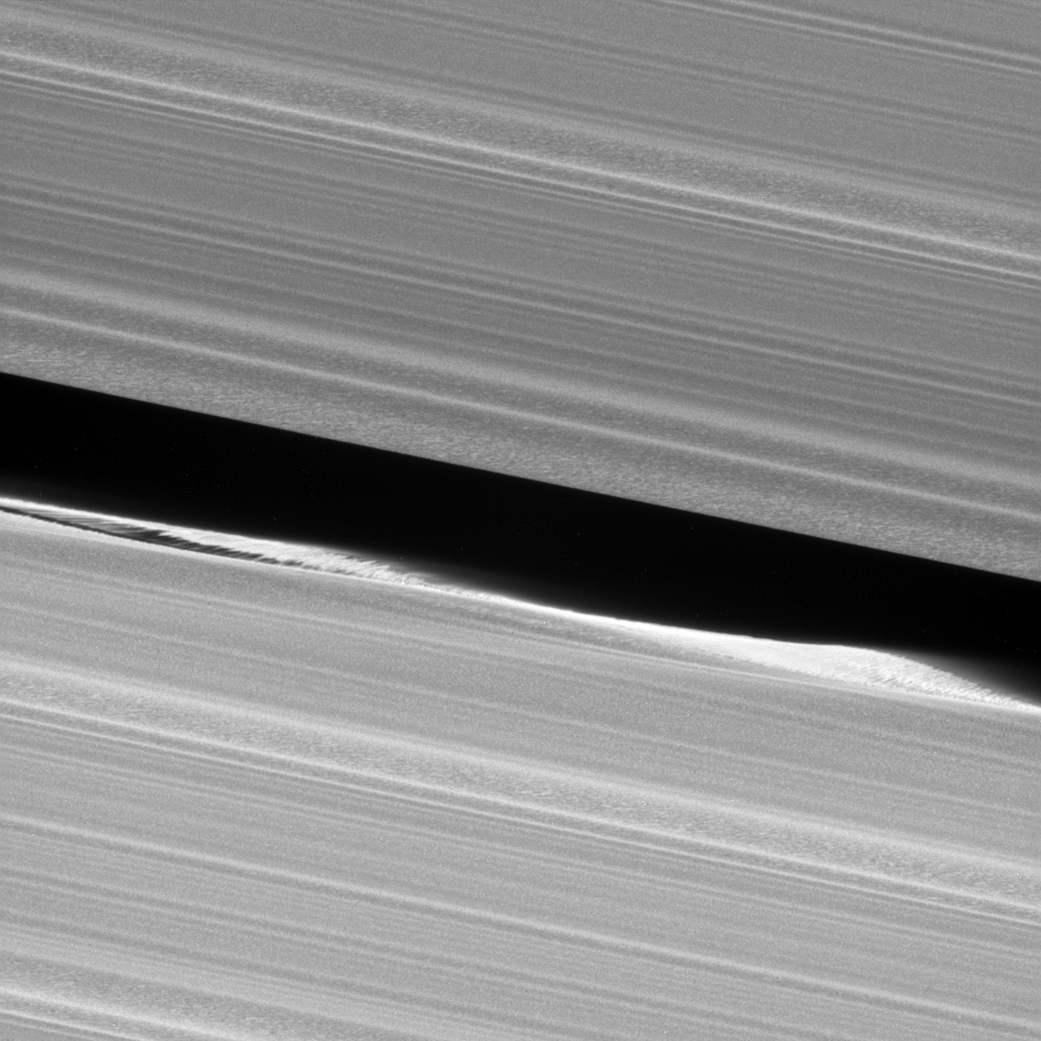 Before Cassini entered its Grand Finale orbits, it acquired unprecedented views of the outer edges of the main ring system. For example, this close-up view of the Keeler Gap, which is near the outer edge of Saturn's main rings, shows in great detail just how much the moon Daphnis affects the edges of the gap.