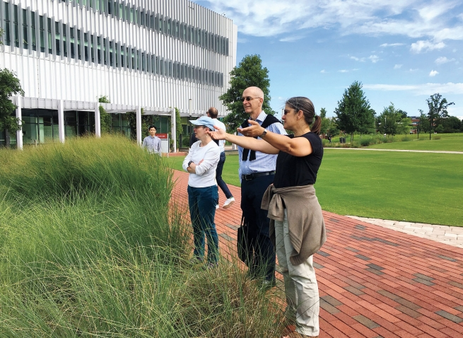 Wellesley staff members take a tour of the science center at North Carolina State University.