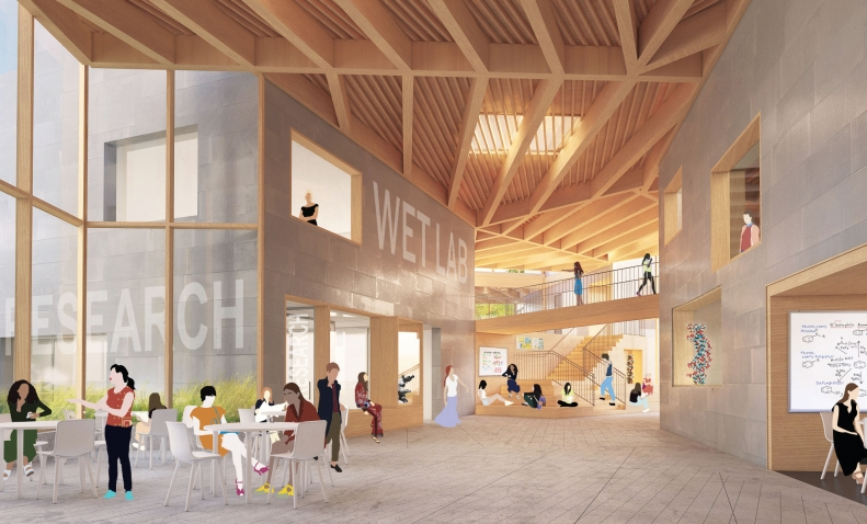 An architectural rendering of the T.T. and W.F. Chao Foundation Innovation Hub