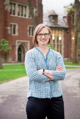 A photo shows Kathryn Harvet Macintosh '03 in front of Green Hall.