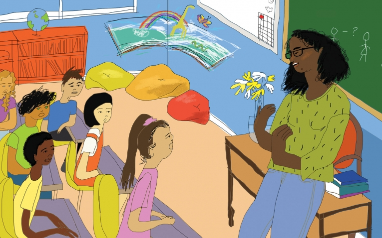 Illustration of Zoe teaching students