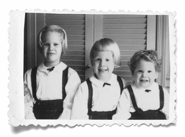 The Hummer sisters in an early holiday photo. The future Wellesley magazine editor is in the center.