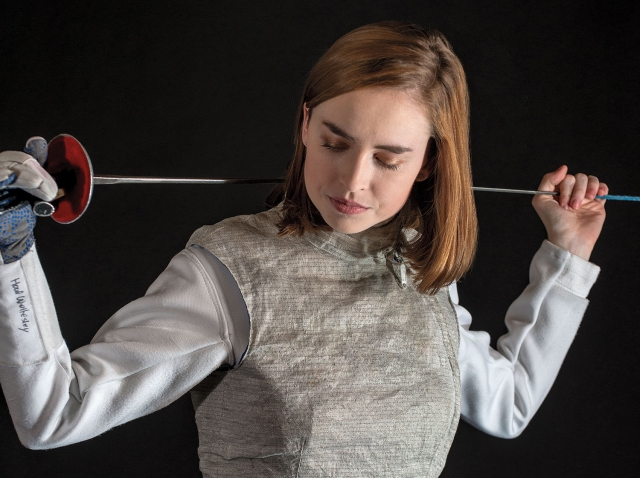 Taylor Hood '18 in her fencing gear.