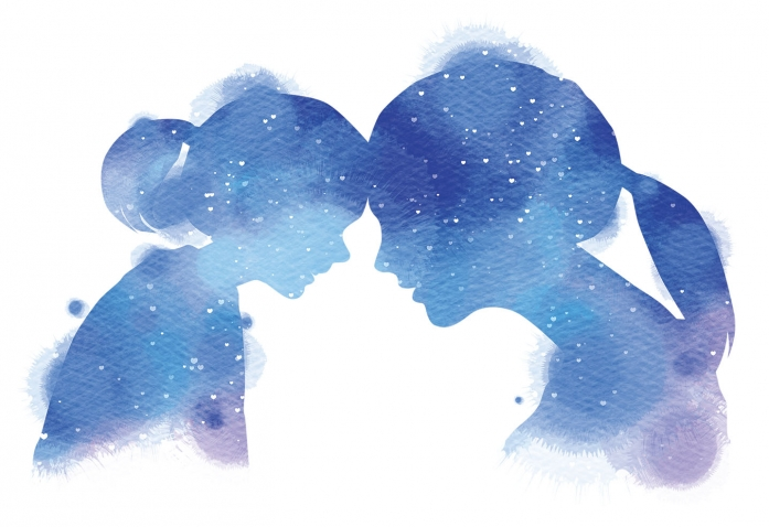 A water-color silhouette painting shows a young girl and her mother in profile, leaning their foreheads against one another.