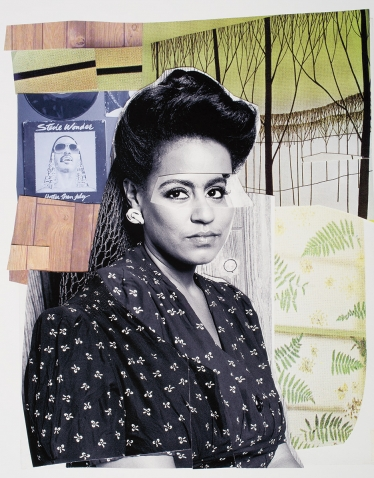Clarivel with Black Blouse with White Ribbon, 2016, Mickalene Thomas