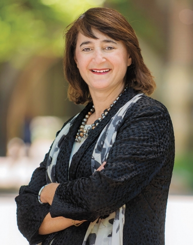 A portrait of Martha Goldberg Aronson '89, president of the Wellesley College Alumnae Association