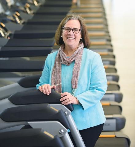 Bridget Belgiovine stands in the new Fitness Center