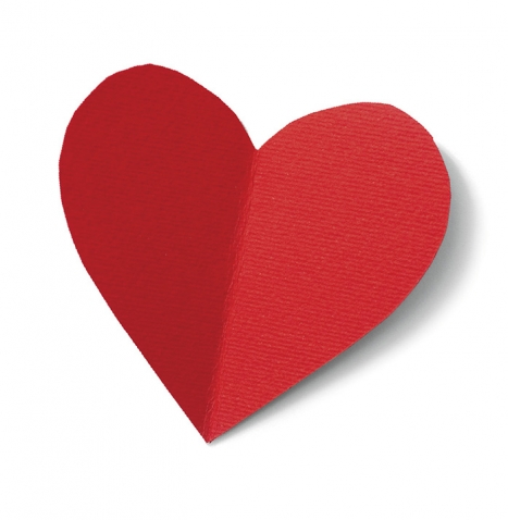 A photo of a red paper heart