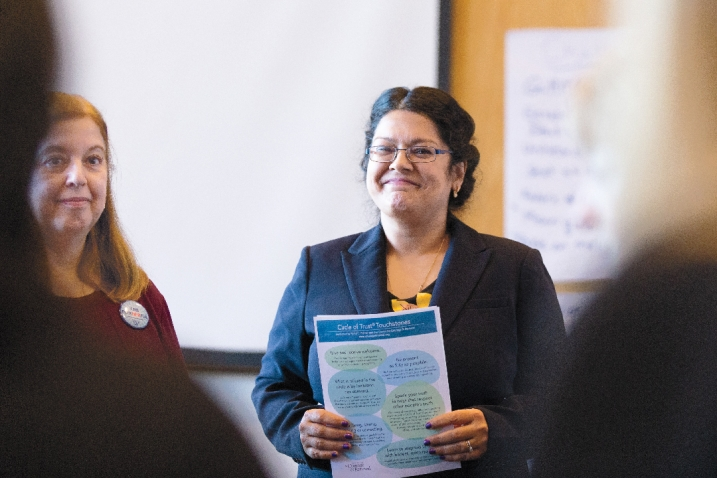 Senior lecture emerita in psychology Linda Carli (left) and Preeta Banerjee taught the recent Women's Leadership for Impact course at the College Club.