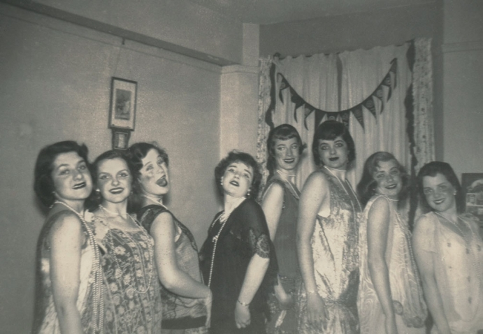 The Wellesley Widows pose in flapper dresses in the 1940s