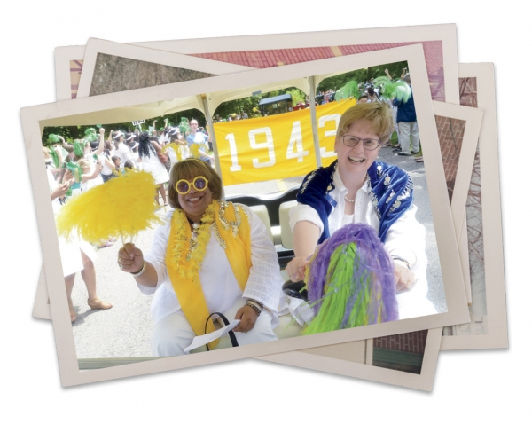 Alice Hummer and Desiree Urquhart CE/DS '99 in the Wellesley alumnae parade