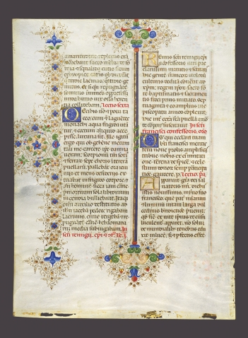 The page from the Llangattock breviary donated to Wellesley features beautiful calligraphy and ornate decorations in brilliant reds, blues, greens, and golds.
