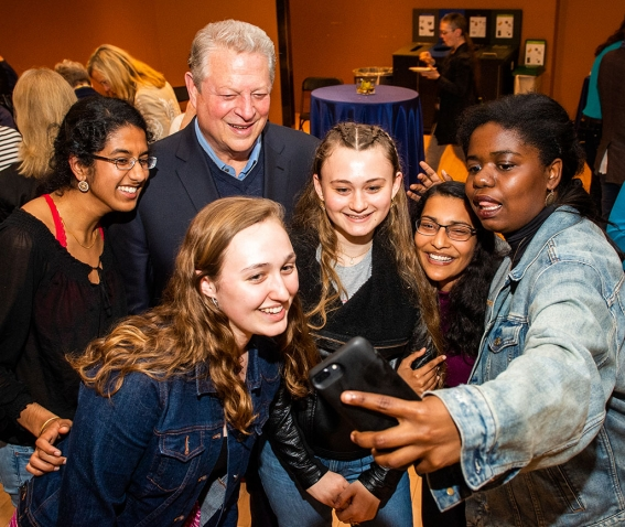 A photo shows former Vice President Al Gore taking a selfie with students following his Wilson Lecture on climate change.